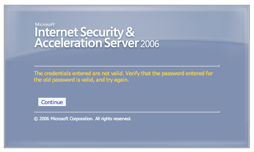 Microsoft Outlook Web Access Password Reset Form - Confusing Error Message