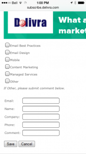 Delivra's unsubscribe form