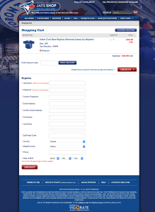 The Blue Jays' online shop requires an account to checkout.